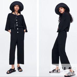 Zara black button knit jumpsuit
